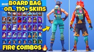"NOUVEAU ""BOARD BAG"" BACK BLING Showcased With 110'SKINS! Fortnite Battle Royale - NOUVEAU REVOLT SKIN!"