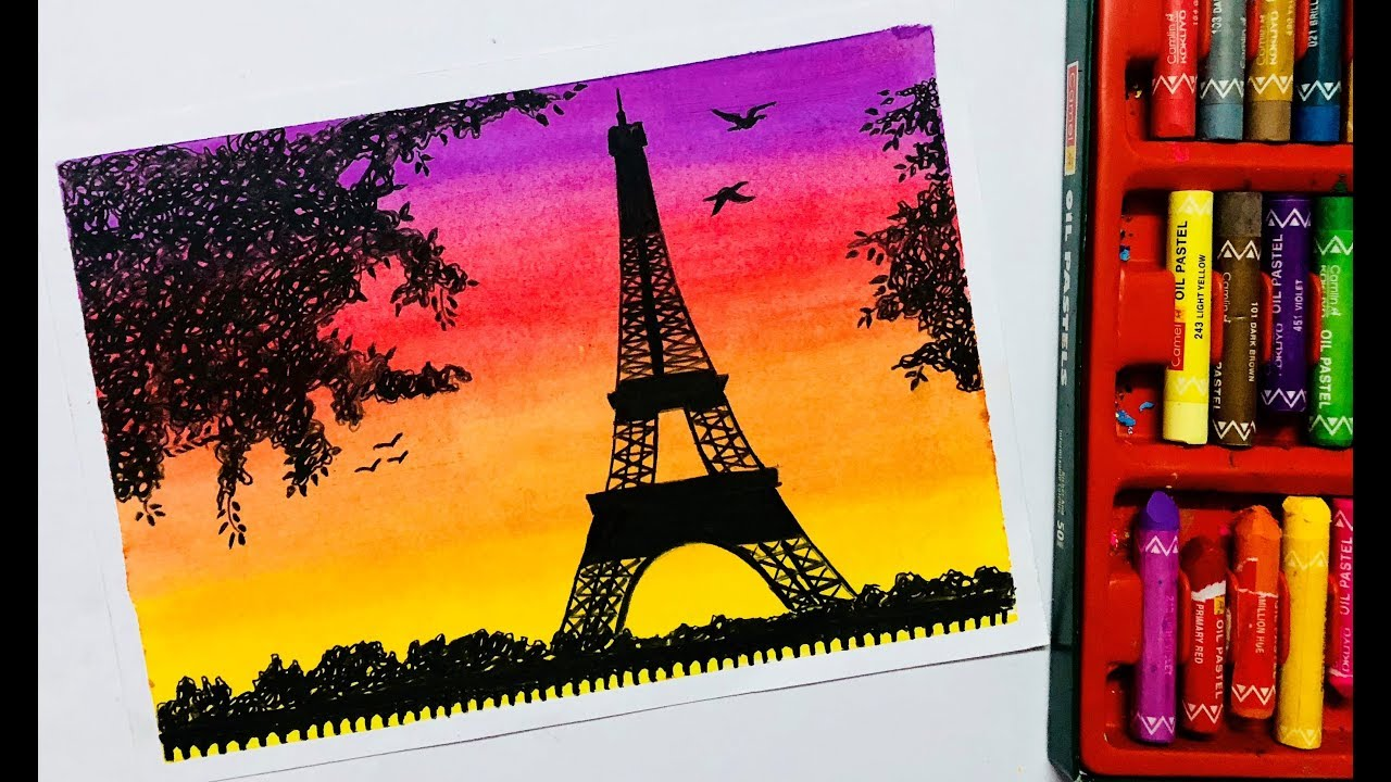 Eiffel Tower Scenery Drawing With Oil Pastels Youtube