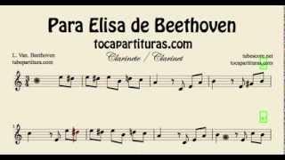 Para Elisa de Beethoven Partitura de Clarinete Fácil Principiantes
