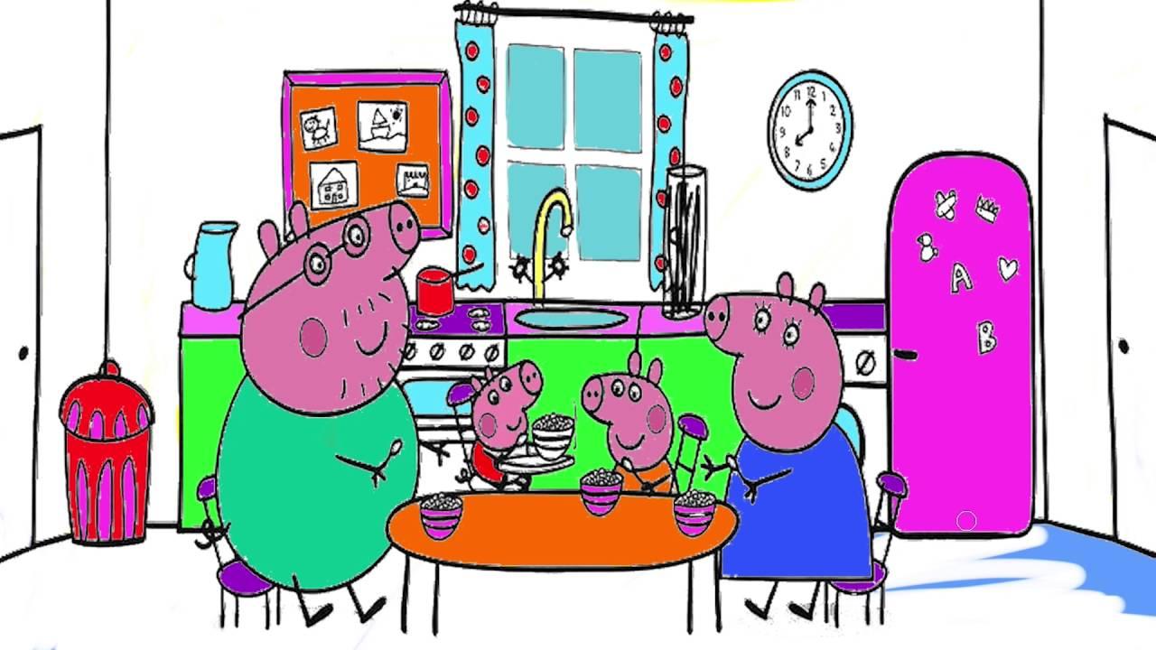 Peppa Pig  Parte 3  Familia Pig desayuno  Pintar Peppa Pig