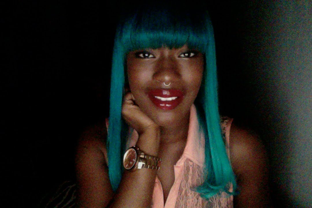 Black Girl Dark Skin Teal Hair Dye Aquababe