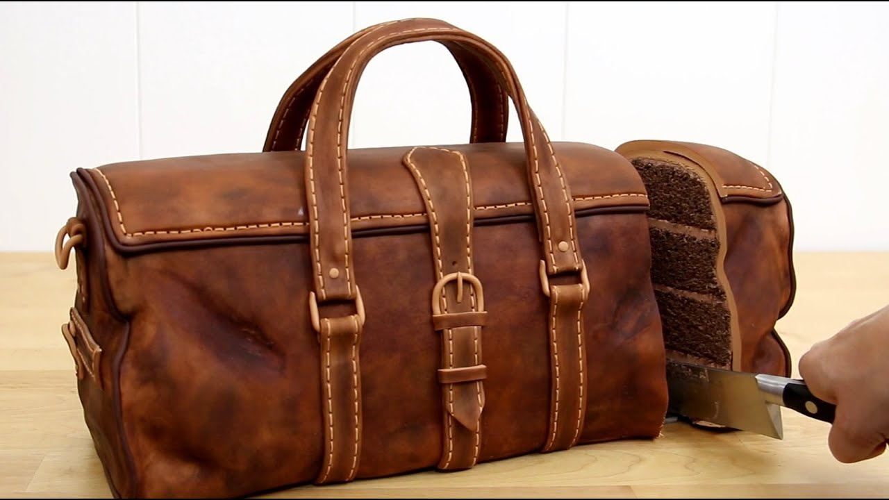3D CHOCOLATE Travel Leather BAG Cake by Cakes StepbyStep