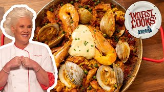 Anne Burrell's Paella With Chorizo, Shrimp, Clams & Chicken | Worst Cooks In America | Food Network