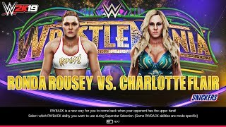 WWE 2K19 Ronda Rousey vs Charlotte Flair Wrestlemania 34 Full Match Gameplay & Entrances!