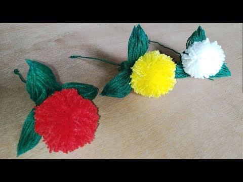 Woolen marigold flower making, Woolen Crafts and Hand Embroidery