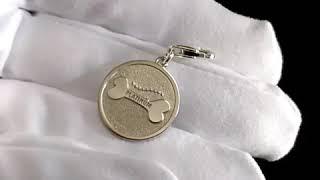 Серебряный жетон-адресник для собаки или кошки с гравировкой
