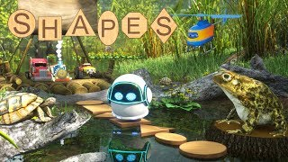 Max and Friends Use Wooden Shapes to Help Bubble the Robot Cross the Swamp | Shapes for Children