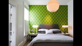 видео Спальня с зелеными обоями фото