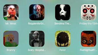 Mr Meat,Requiemfor,Slendrina,Friday The 13th,Branny,Scary Hospital,Feist,FNaF