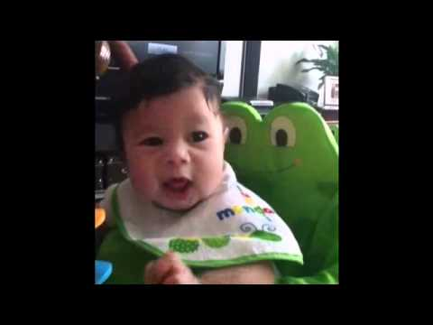 Baby Hiccups 4 Months Old Playing Evenflo Exersaucer