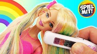 RAINBOW HAIR BARBIE Puppe Regenbogen Haare färben mit Glätteisen | Haarkreide für Barbie Puppe
