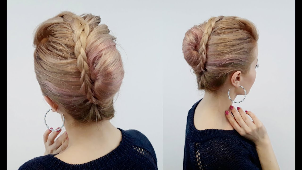 LAZY EASY HAIRSTYLE QUICK FRENCH TWIST WITH BRAIDED BANGS | Awesome ...