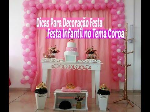 Dicas Decoração Festa Infantil no Tema Coroa Simples e Fácil/  Carla Oliveira