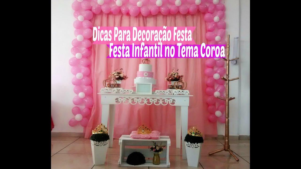 Dicas Decoraç u00e3o Festa Infantil no Tema Coroa Simples e Fácil Carla Oliveira YouTube # Decoração De Aniversario Infantil Com Tnt