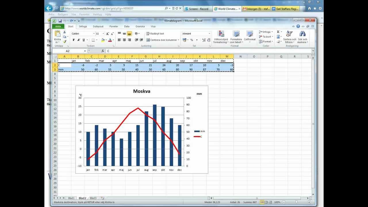 Klimatdiagram i Excel (Windows)