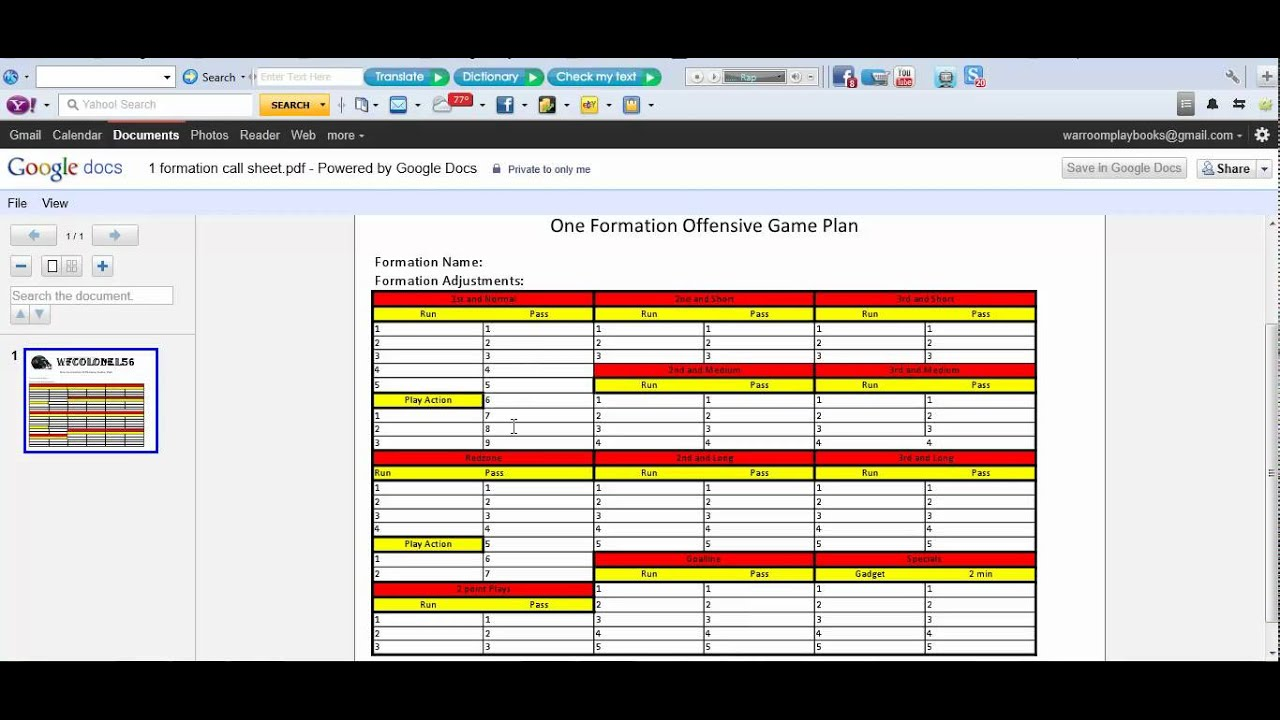 Madden NFL One Formation Call Sheet - YouTube