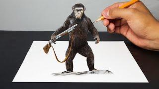 Disegno 3D di Cesare ( The War - Il Pianeta Delle Scimmie ) - ART-CYO