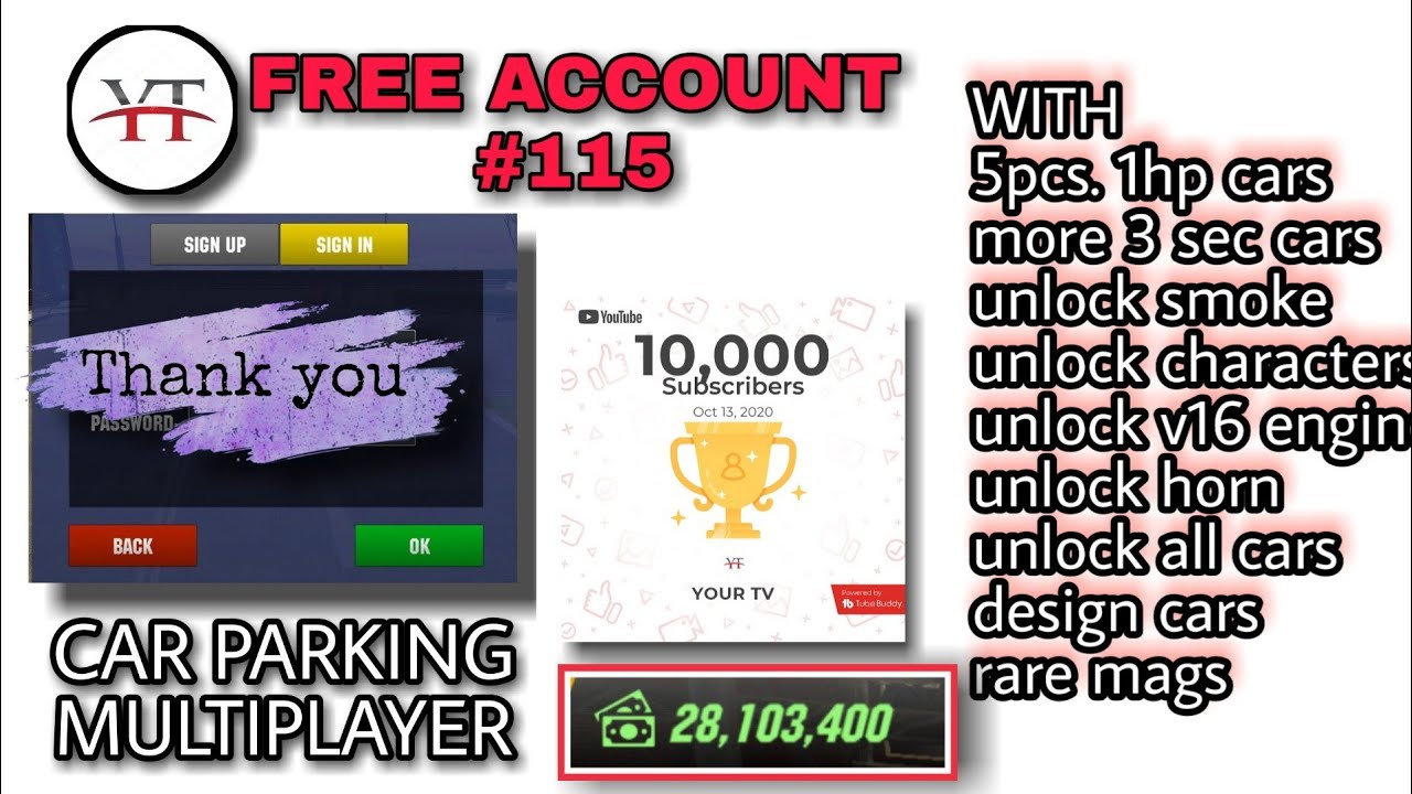 Download Free Account 115 Special Car Parking Multiplayer Your Tv 10k Subscribers Giveaway Mp3 Download 320kbps