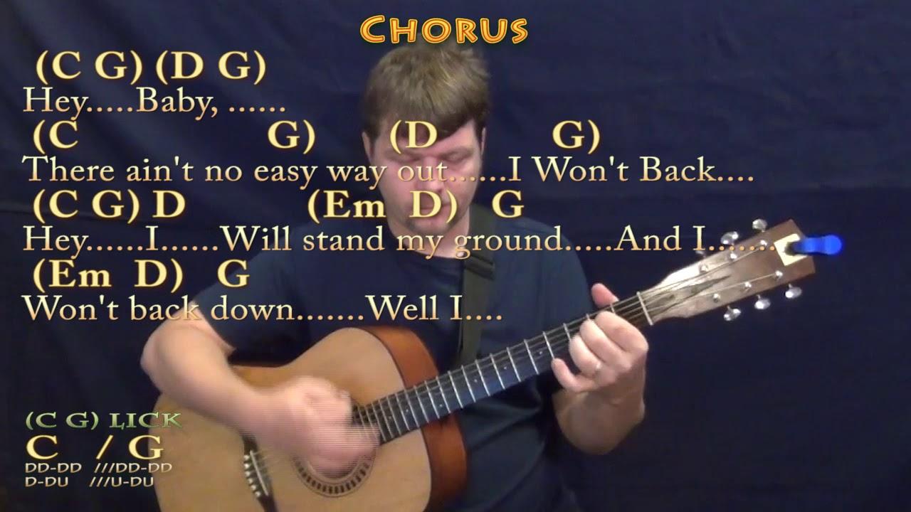 I Won't Back Down Tom Petty Guitar Lesson Chord Chart with Chords/Lyrics
