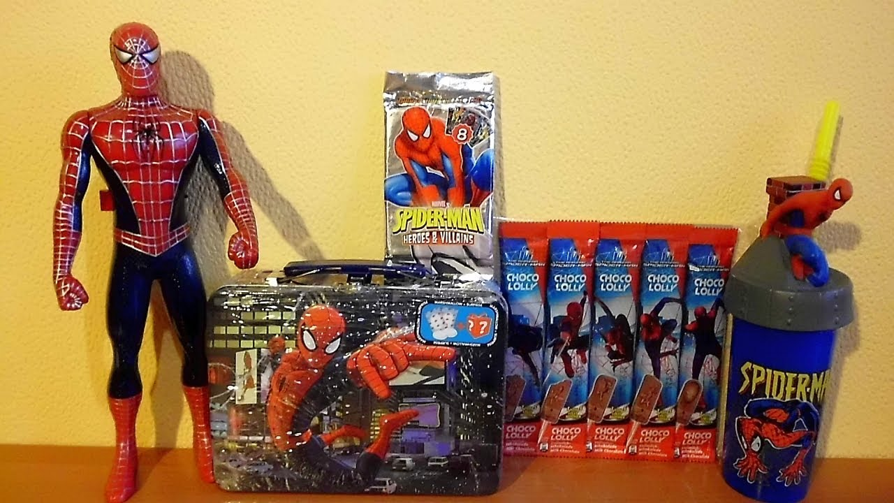 Spider Man Lunch Box Surprise Maxi Pack Toys Cards Lolly