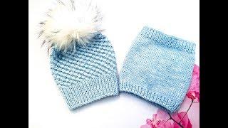 """Очень красивая теплая шапочка """"Снежинка"""" /  Как связать простую шапку"""