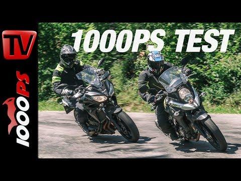 1000PS Test - Suzuki V-Strom 650 & Yamaha Tracer 700 auf Schotter und Straße