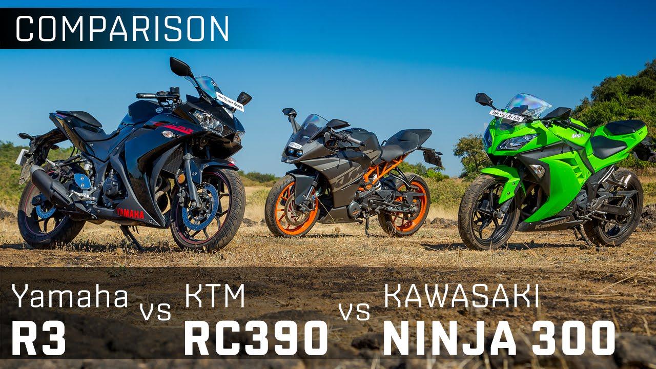 Kawasaki Ninja 300 vs Yamaha R3 vs KTM RC390 :: Comparison Review