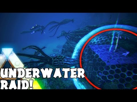ARK Survival Evolved - GIANT UNDERWATER TEK RAID AND DEFENSE, TEK MOSA BASE RAIDING ( Gameplay )