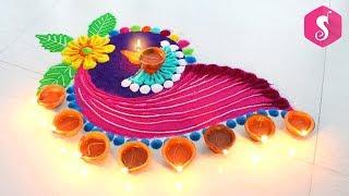 Colourful & Attractive Deepavali Rangoli | Diya Rangoli Design |  Sonali