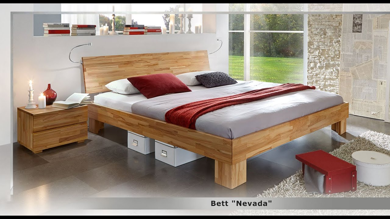 kirschbaumfarbenes bett aus massivholz bett nevada. Black Bedroom Furniture Sets. Home Design Ideas