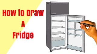 How to draw a fridge. drawing system of A fridge