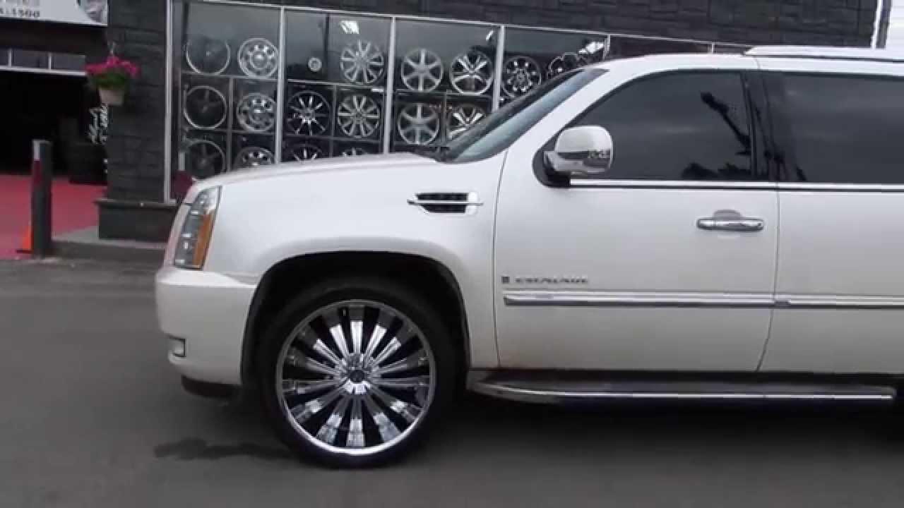 24 wheels chrome - Hillyard Rim Lions 2009 Cadillac Escalade Riding On 24 Inch Chrome Wheels Tires