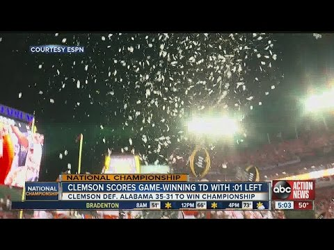 Clemson scores game-winning touchdown with one second left