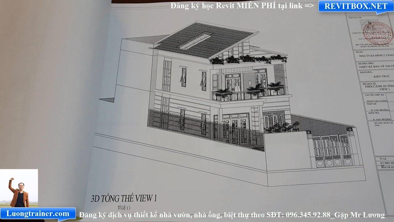 Bản Vẽ Mẫu Nhà Ống 2 Tầng Đẹp Tại Lục Nam Bắc Giang Làm Bằng Revit 2017-2018-2019