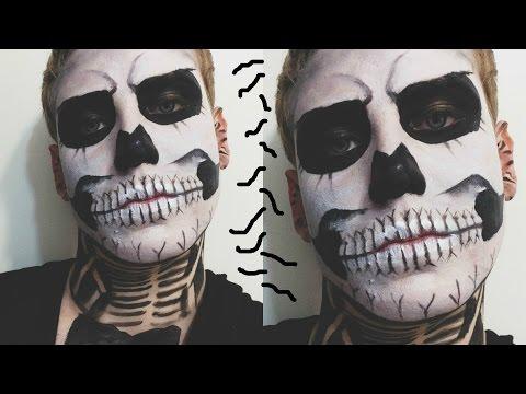Makeup Tutorial: Halloween Skeleton/Skull/Zombie Boy Makeup