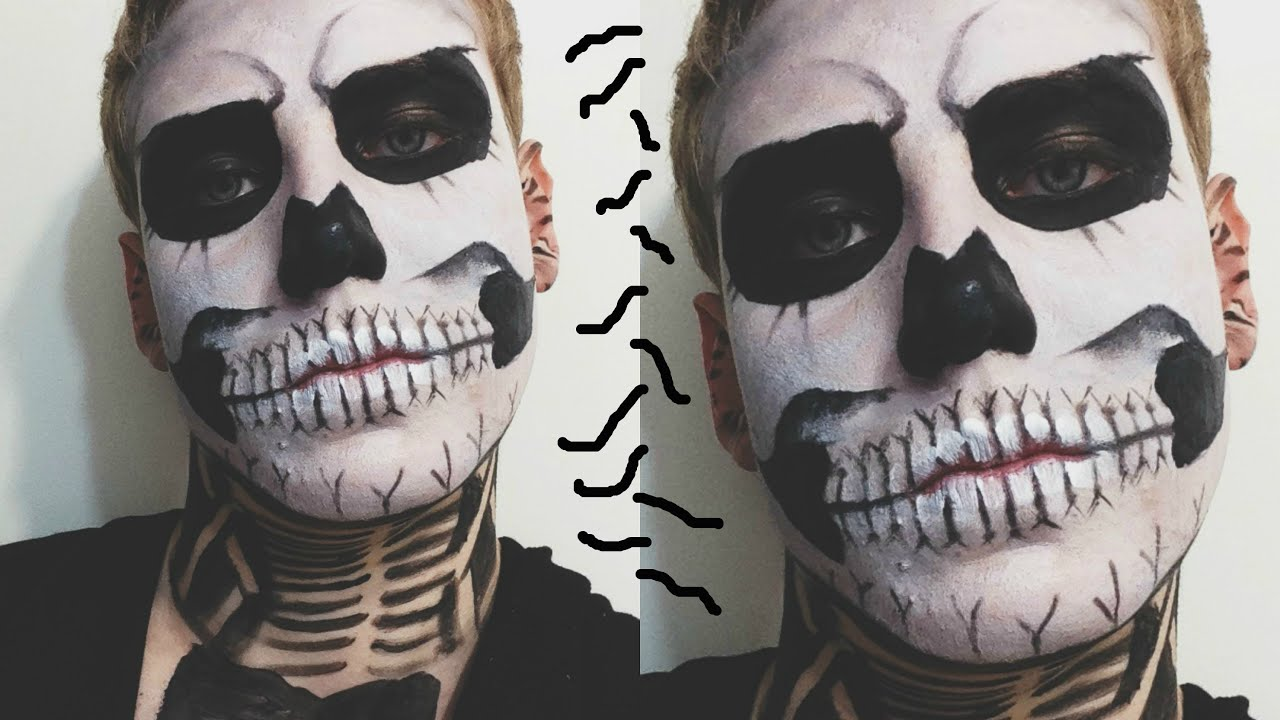 Makeup Tutorial: Halloween Skeleton/Skull/Zombie Boy Makeup - YouTube