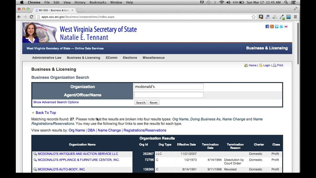 West Virginia Secretary of State Business Search - YouTube