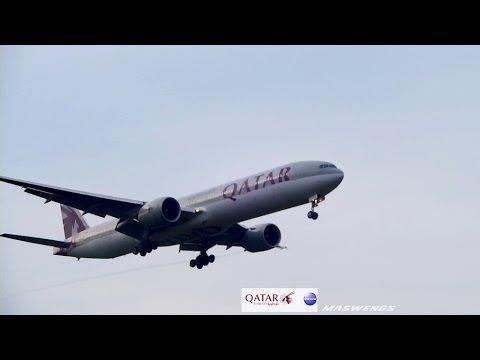 Qatar Airways Boeing 777-3DZER A7-BAG QTR844 Landing KUL WMKK RWY32L 06122013
