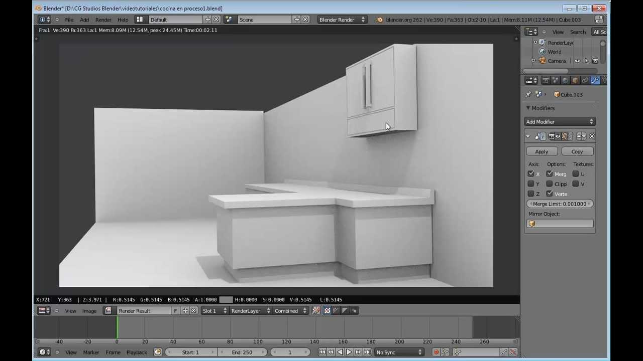 Modelado de la una cocina en blender 3d 2 6 videotutorial for Cocinas en 3d gratis