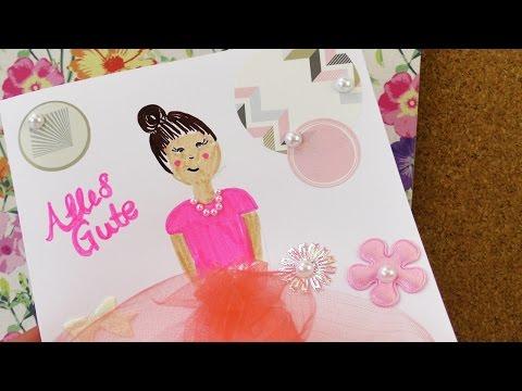 Ballett Karte für kleine Ballerinas | DIY Karte gestalten Einladung & Geburtstag Glitzer & Perlen
