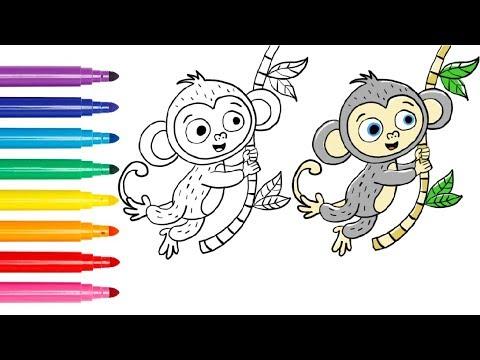 Sevimli Maymun çocuklar Için çizim Ve Boyama Youtube