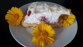 """Пирог""""Клубника под снегом""""!Восхитительный пирог с клубникой.#пирог#клубника#клубничный пирог#как#"""