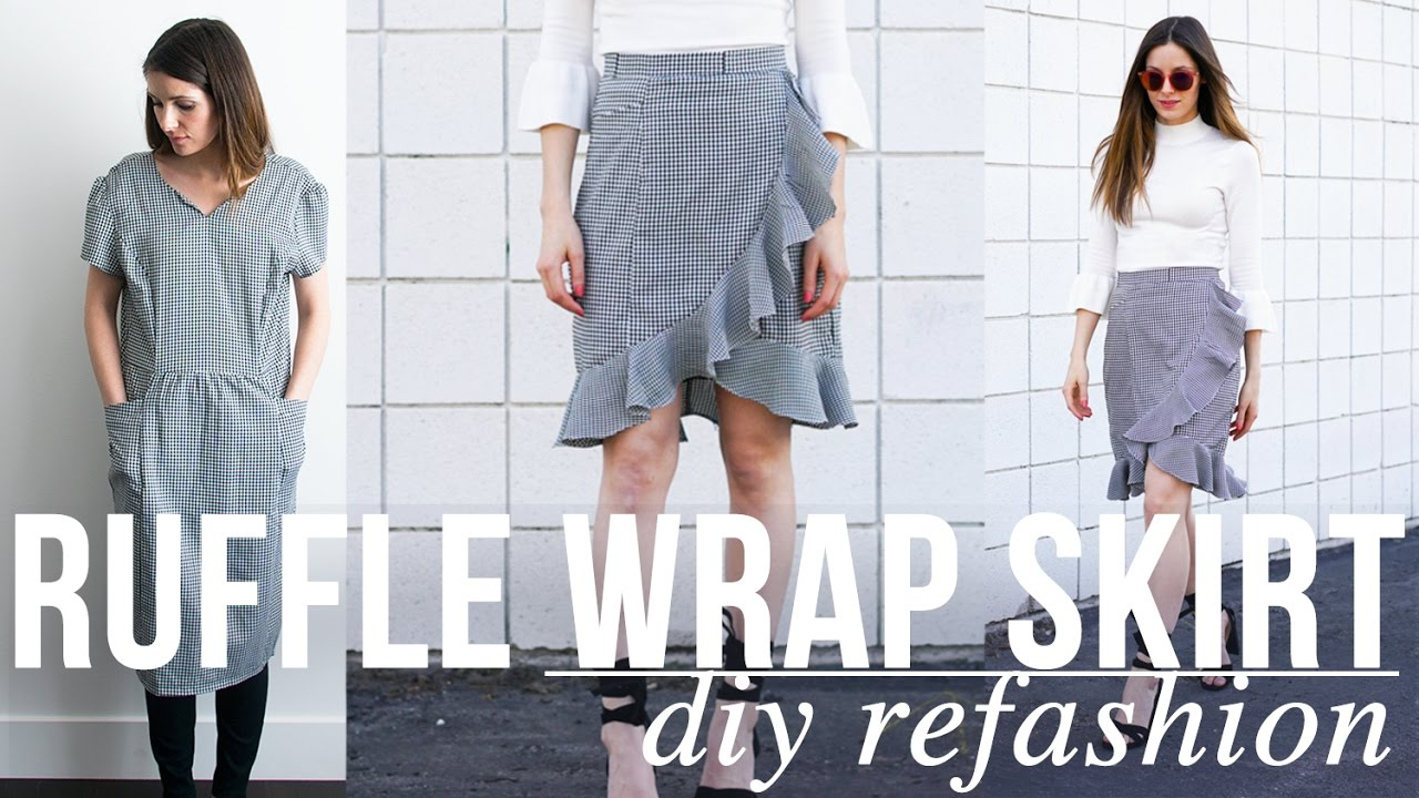 2af517bcf DIY Ruffle Wrap Skirt Refashion - YouTube