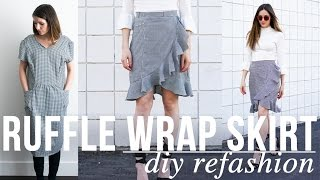 DIY Ruffle Wrap Skirt Refashion