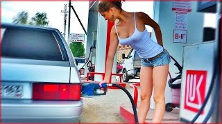 Girl at gas station  Fails compilation || Fire At Gas Station