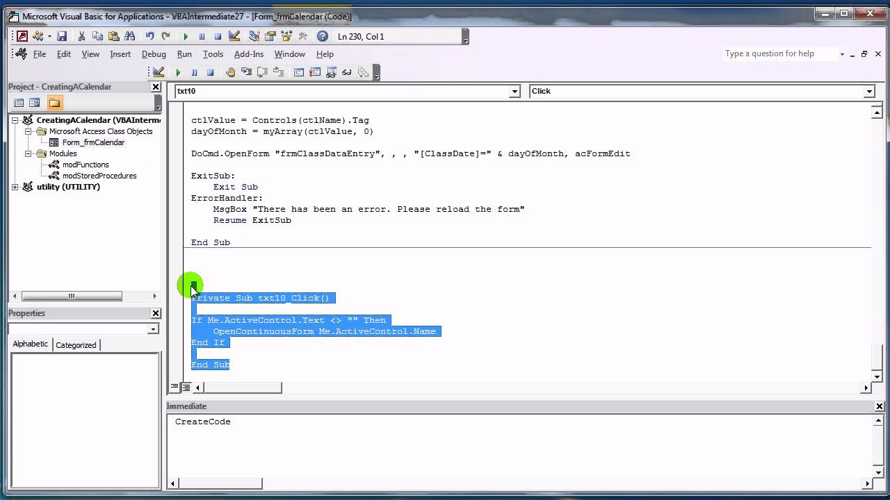 ms access code builder