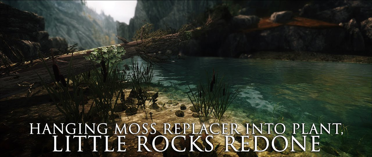 TES V - Skyrim Mods: Hanging Moss replacer into plant, Little rocks redone