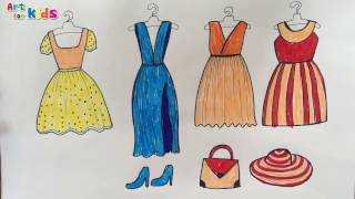 How to draw fashion clothes for kids | How to draw dresses for kids 6 | Art for kids