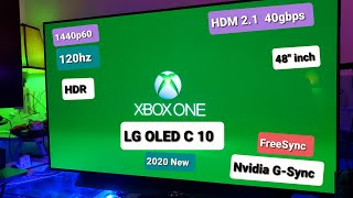 """LG OLED C10 48"""" Gaming TV & Xbox One X 120hz 1440p HDR Test"""