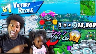 PLAYING FORTNITE WITH A 7 YEAR OLD GIRL TO BUY HER V BUCKS!